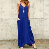 Price 2017 Zanzea S 5Xl Beach Women Summer Beach Boho Spaghetti Straps Plus Size Deep V Neck Strappy Sundress Long Maxi Dress Vestido Royal Intl Zanzea Online