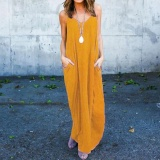 Best Reviews Of 2017 Zanzea S 5Xl Beach Women Summer Beach Boho Spaghetti Straps Plus Size Deep V Neck Strappy Sundress Long Maxi Dress Vestido Yellow Intl