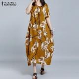 Compare 2017 Zanzea Women O Neck Short Sleeve Casual Loose Shirt Dress Retro Floral Print Long Dress Kaftan Vestido Plus Size L 5Xl(Yellow) Intl