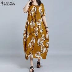 Cheapest 2017 Zanzea Women O Neck Short Sleeve Casual Loose Shirt Dress Retro Floral Print Long Dress Kaftan Vestido Plus Size L 5Xl(Yellow) Intl