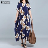 Best 2017 Zanzea Women O Neck Short Sleeve Casual Loose Shirt Dress Retro Floral Print Long Dress Kaftan Vestido Plus Size L 5Xl(Navy) Intl