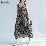2017 Zanzea Women Vintage Floral Print O Neck Sleeveless Asymmetric Hem Summer Loose Party Dress Beach Long Vestido Plus Size (Black) Intl Compare Prices