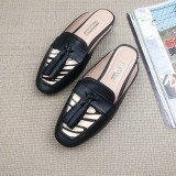 2017Fashion Casual Zebra Stripes Tassel Female Slippers Flat Mules Loafers Big Size 42 Coupon