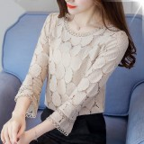 2018 New Spring Autumn Blouse Women Tops Hollow Out Lace Shirt Female Casual Flare Sleeve White Renda Blusa Feminina Blouses Intl China