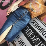 Discounted 2018 Summer Lady Elastic Denim Skirt Midi Causal Fashionable Woman Slim Single Breasted Slit Pencil Jeans Skirts Intl