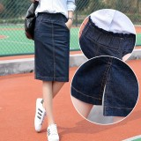 Deals For 2018 Summer Woman Denim Skirt Midi Causal Elastic Waist Jeans Pencil Skirt Plus Size S 3Xl Intl