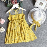 Review 2Pcs Toddler Kids Baby G*rl Outfit Clothes Chiffon Floral Vest Dress Sun Hat Set Intl Not Specified