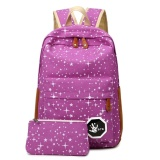 Buy 2Pcs Women Canvas Stars Backpack Big Capacity Girls Sch**l Shoulder Travel Bag Purple Intl On China