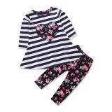 Discounted 2Pcs Set Cotton Autumn Baby G*rl Clothing Sets Newborn Clothes Set For Babies Love Clothes Suit Stripe Tops Floral Print Pants Intl