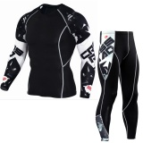 2Pcs Sets Men S Compression Run Jogging Suits Clothes Sports Set Long T Shirt And Pants Gym Fitness Workout Tights Clothing Letter Intl Oem Cheap On China