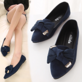 Brand New Korean Style Pointed Flat With Flat Bow Shoes Plus Sized Flat Shoes