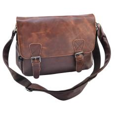 360DSC Three-box Fashion Business Men PU Leather Flap-Over Cross Body Bag Messenger Shoulder Bag - Dark Coffee