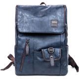 Price Comparisons 360Wish Qiger W8100 Vintage Men Pu Leather Backpack Schoolbag Outdoor Travel Bag Ming Blue