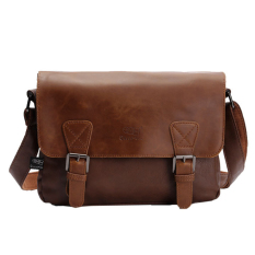 Deals For 360Wish Three Box Fashion Business Men Pu Leather Flap Over Cross Body Bag Messenger Shoulder Bag Light Coffee