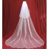 Cheapest 3M 2Tiers Bridal Wedding Long Veil Cathedral Satin Edge With Comb White Intl