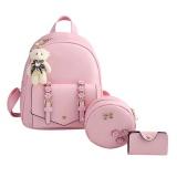 Compare Price 3Pcs Autumn Winter Women Flower Backpack Messenger Bag Shoulder Bag Set Pink Intl On China