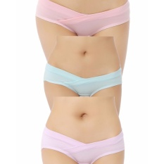 Sale 3Pcs Fashion Cotton Low Waist Maternity Knickers Underwear Pregnant S*xy Panties Pink Blue Lavender Multipack Plus Size Intl China
