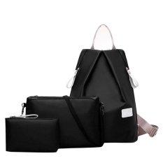3Pcs New Fashion Backpack Shoulder Bag Handbag Waterproof Nylon Oxford Bags Black Intl China