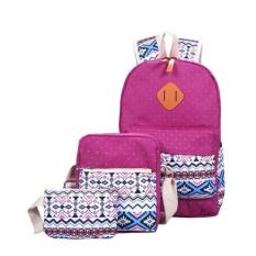 Buy 3Pcs Set Women Canvas Backpack Tribal Aztec Sch**L Travel Shoulder Bag Ruchsack Daypack For Girls Color Purple China