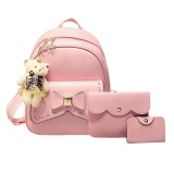 How Do I Get 3Pcs Women Pu Leather Bowknot Backpack Sch**L Bag Crossbody Bag Card Holder Pink Intl