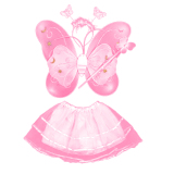 Discount 4 Pcs Set Cute Butterfly Style Children Kids Wing Wand Headband Dresses G*rl Fairy Stage Costume For Halloween Cosplay Sch**l Show Party Pink
