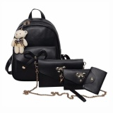 4Pcs Preppy Chic Women Pu Leather Bowknot Backpack Shoulder Bag Clutch Bag Black Intl Compare Prices
