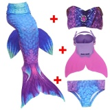 Buy 4Pcs Set Girls Diamonds Mermaid Tail Swimsuit With Monofin Blue Purple Intl Cheap On Hong Kong Sar China