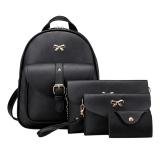 Discount 4Pcs Women Pu Leather Bowknot Backpack Shoulder Bag Clutch Bag Black Intl
