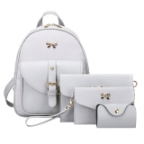 4Pcs Women Pu Leather Bowknot Backpack Shoulder Bag Clutch Bag Grey Intl Coupon