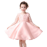 Buy 5 12 Years Flower G*rl Dress Ball Gown Lace Floral Wedding Dress Long Sleeves Pink Online China