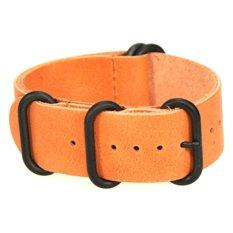 Buy 5 Ring Sand Leather Zulu Watch Strap Black Pvd 22Mm Oem
