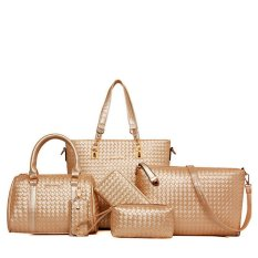Buy 6Pcs Luxury Fashion Pu Faux Leather Weave Tote Shoulder Hangbags Bags Set Of 6 Intl Online
