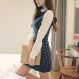 Get Cheap Women S Korean Style Long Sleeve Plaid Dress Navy Blue