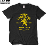Lannister Lion Short Sleeved T Shirt Black Black Free Shipping