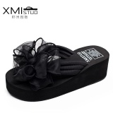 The Cheapest A01 Hot Sale Summer High Heel Bowknot Beach Height Increasing Anti Slip Wedge Flip Flops Women S Shoe 7103 Black Intl Online