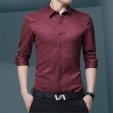 A02 New Style Autumn Young Men Fashion Long Sleeve Business Shirt Slim Plain Floral Shirt H28 1 Burgundy Intl Cheap
