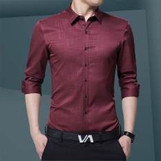 A02 New Style Autumn Young Men Fashion Long Sleeve Business Shirt Slim Plain Floral Shirt H28 1 Burgundy Intl Best Price