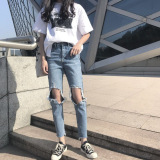 Cheapest A057 Retro New Style High Waisted Straight Jeans Online