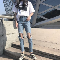 Discount A057 Retro New Style High Waisted Straight Jeans Oem
