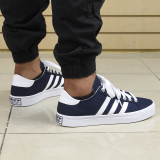 Coupon Adidas Men Originals Court Vantage S78764 Navy White Metallic Silver Casual Shoes