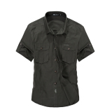 Coupon Afs Jeep Men S Absorb Sweat Casual Loose Cotton Breathable Short Sleeve Shirts Army Green