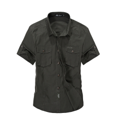 Best Rated Afs Jeep Men S Absorb Sweat Casual Loose Cotton Breathable Short Sleeve Shirts Army Green