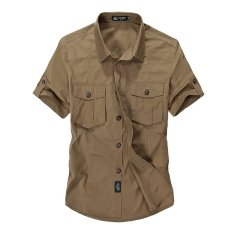 List Price Afs Jeep Men S Absorb Sweat Casual Loose Cotton Breathable Short Sleeve Shirts Khaki Intl Afs Jeep