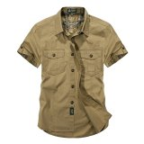 Afs Jeep Men S Loose Casual Army Tooling Pockets Breathable Short Sleeve Shirts Khaki Intl Price