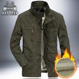 Buy Loose Casual Velvet Jacket Men Spring And Autumn Men S Jacket Men S Coat Dark Green Color Plus Velvet Online