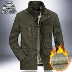 Sale Loose Casual Velvet Jacket Men Spring And Autumn Men S Jacket Men S Coat Dark Green Color Plus Velvet Afs Jeep Cheap