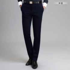 Price Compare Ai Amoy Men S Non Iron Slim Fit Youth Straight Suit Pants Trousers Dark Blue Color