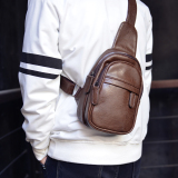 Price Comparison For Ai Guaihan Version Men Shoulder Bag Chest Tray Dark Brown To Send Card Package Dark Brown To Send Card Package