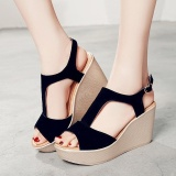 Buy Ai Home Women Pu Frosted Fish Mouth Wedge Sandals With Buckles Summer Shoes Black Intl China