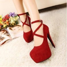 Cheap Ai Home Women Thick High Heels Strap Sandals Fish Mouth Night Club Sandals Shoes Red Intl